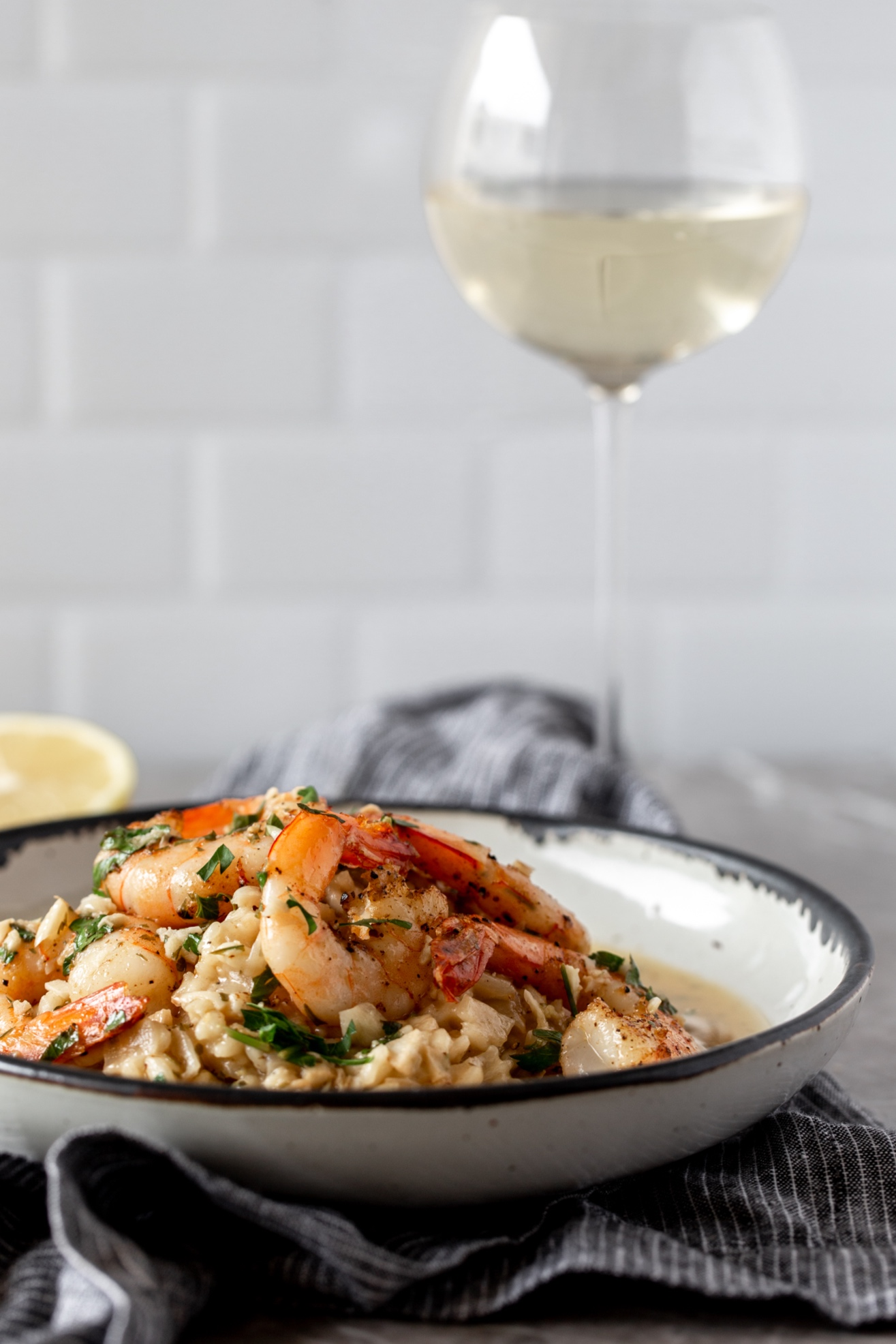 shrimp scampi risotto recipe from cooking with cocktail rings