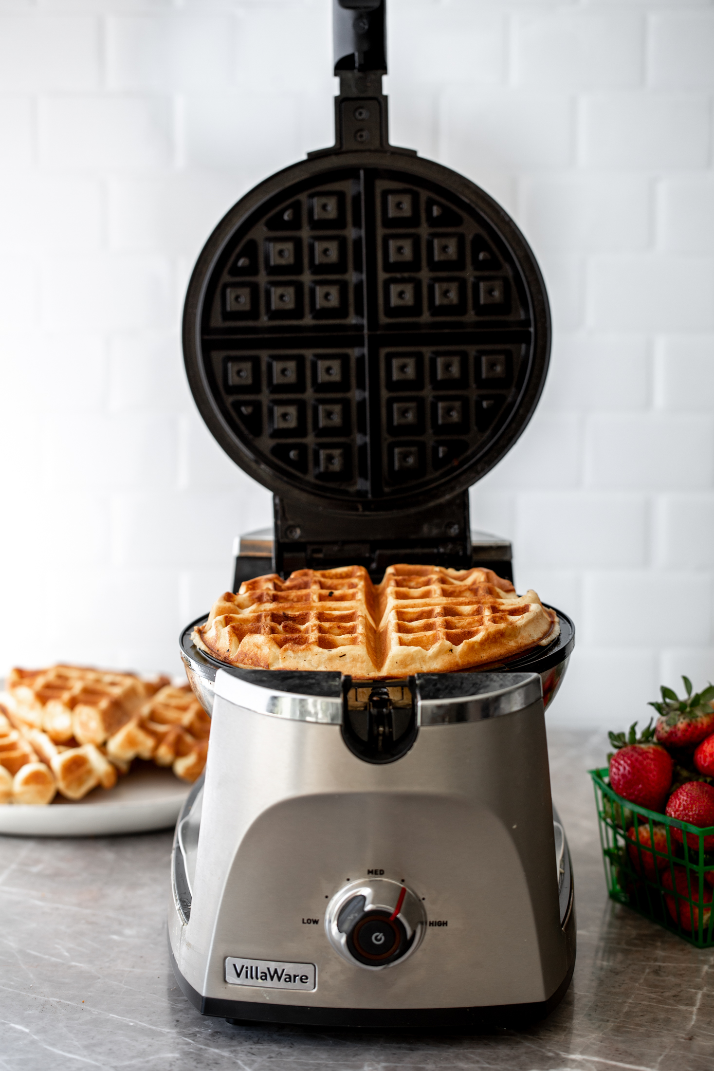 yeasty overnight waffles in iron