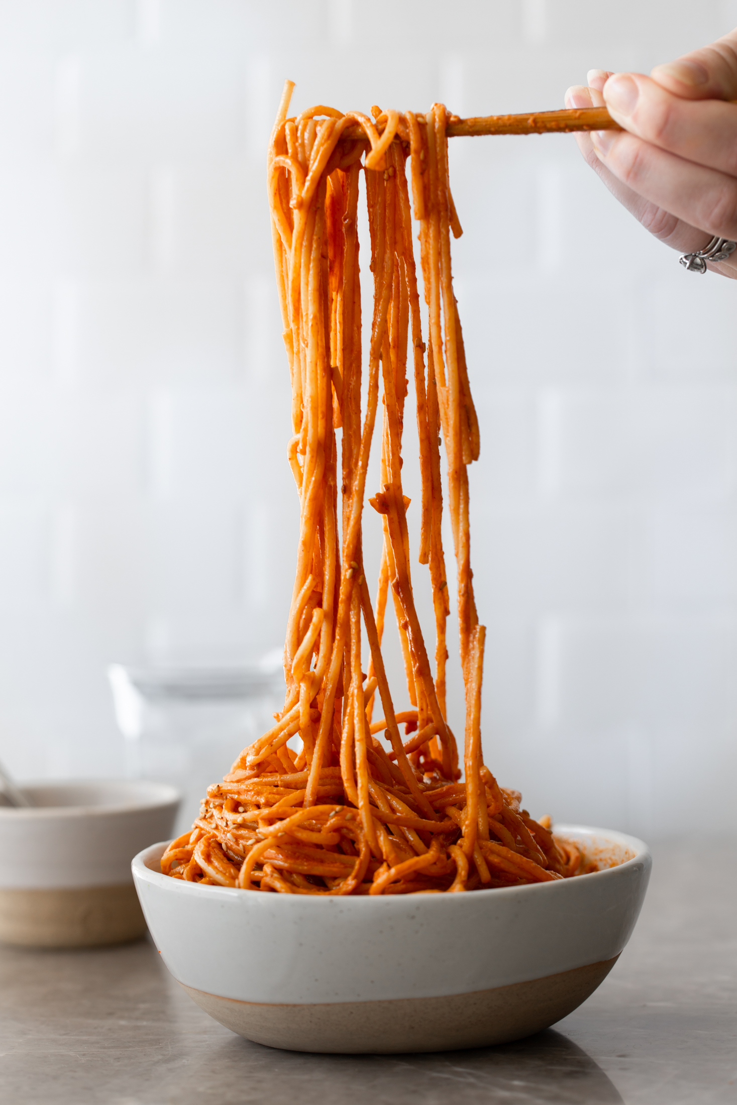 Creamy gochujang noodles recipe from cooking with cocktail rings