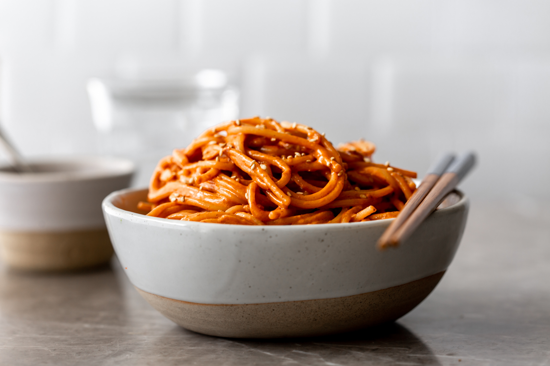 Creamy gochujang spaghetti recipe from cooking with cocktail rings