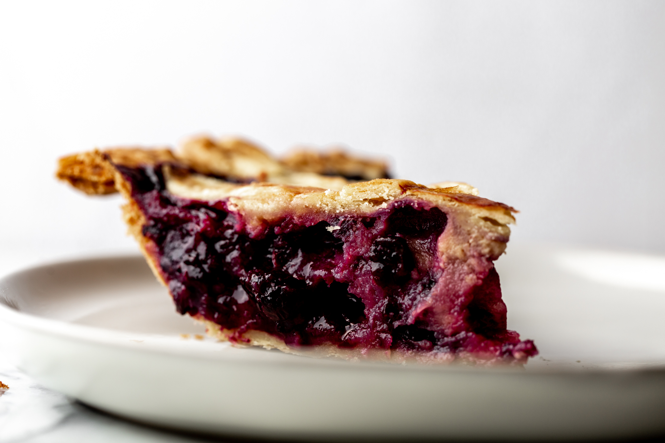 Blueberry Lavender Honey Pie slice