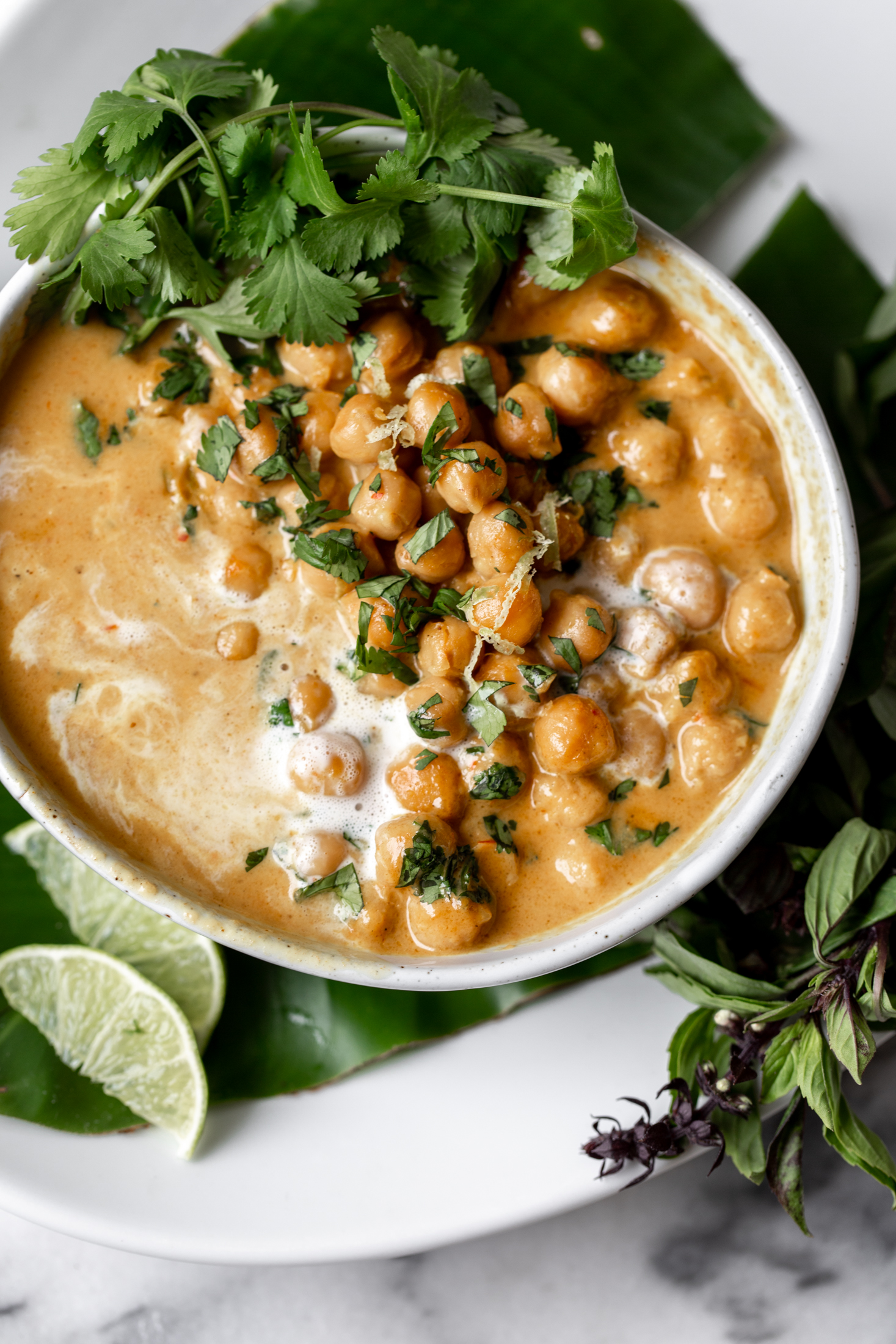 Chickpea Coconut Curry recipe from cooking with cocktail rings closeup