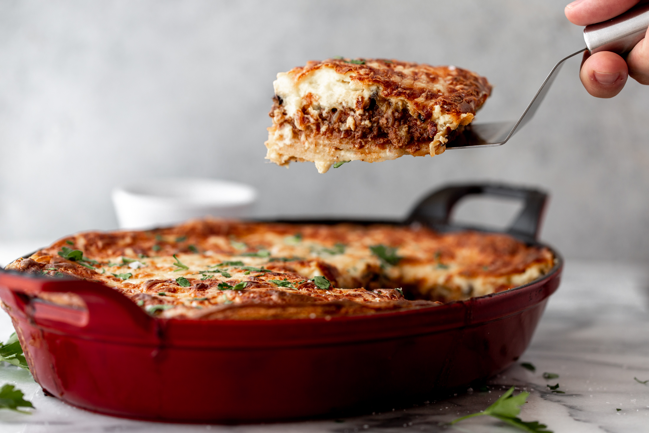 Greek Moussaka  recipe from cooking with cocktail rings