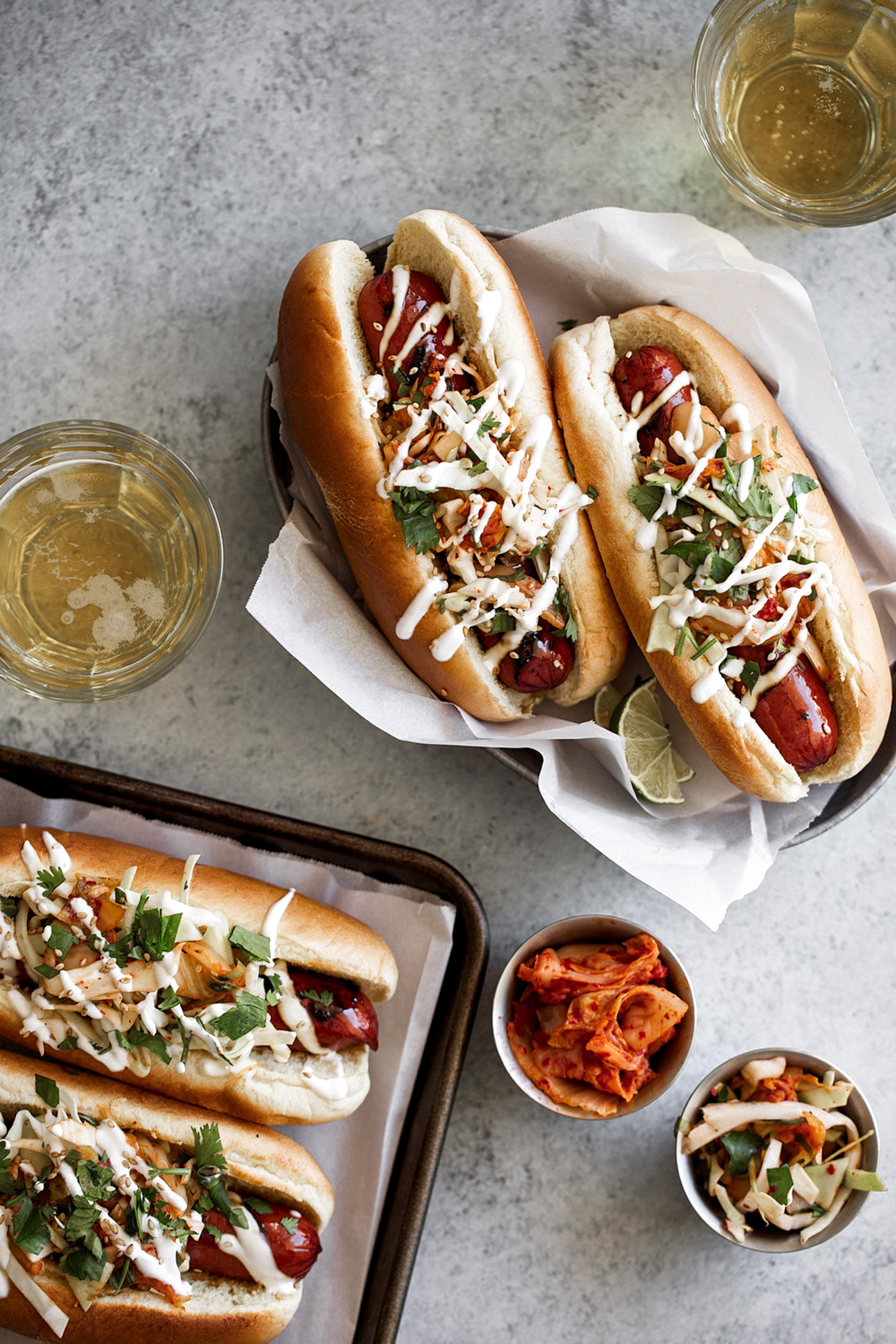 soy glazed spicy korean kimchi hot dogs recipe from cooking with cocktail rings