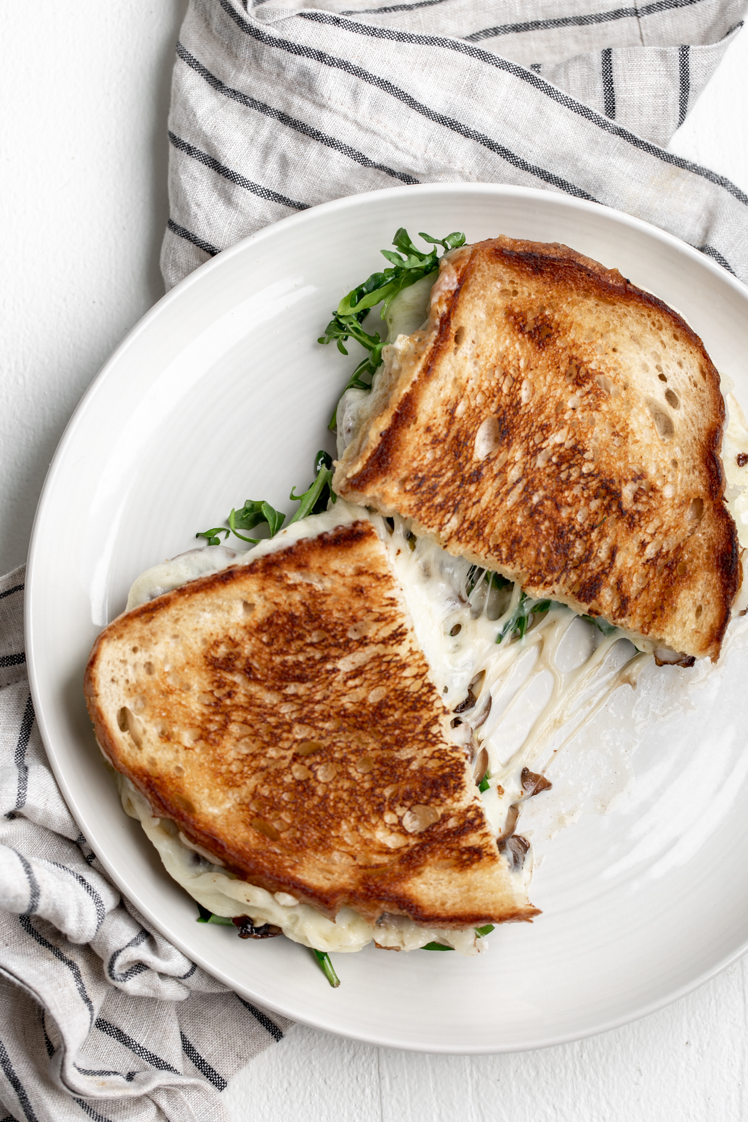 truffle grilled cheese with mushrooms and arugula recipe from cooking with cocktail rings