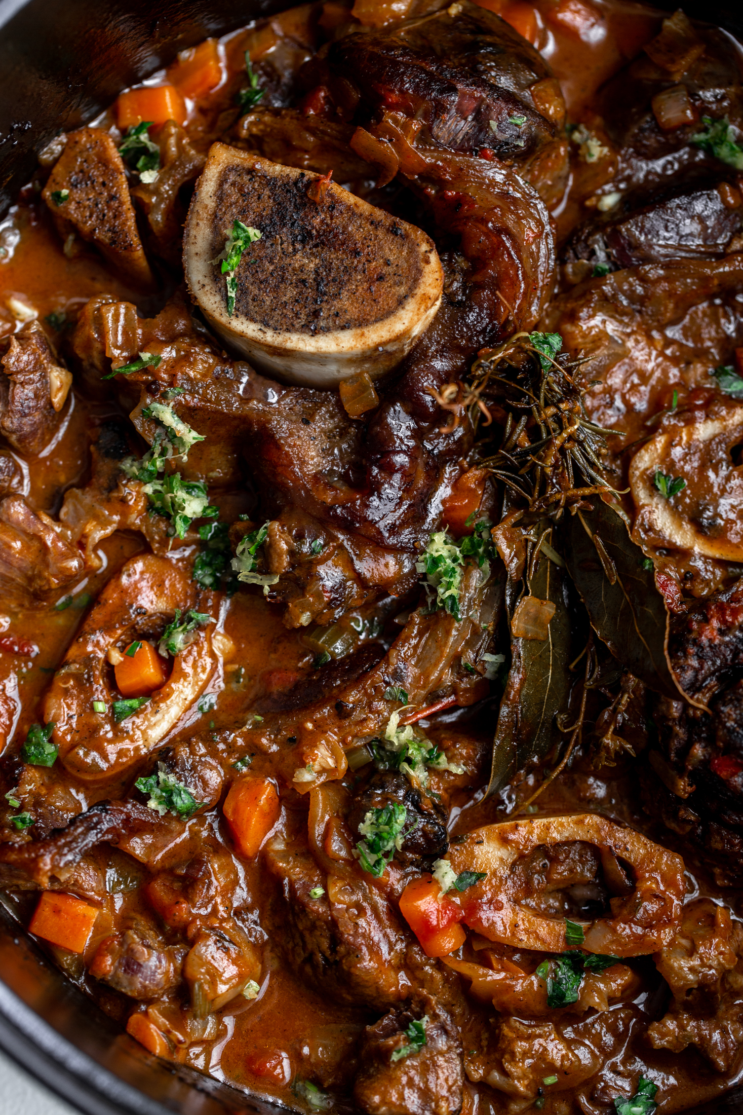 osso buco with gremolata closeup