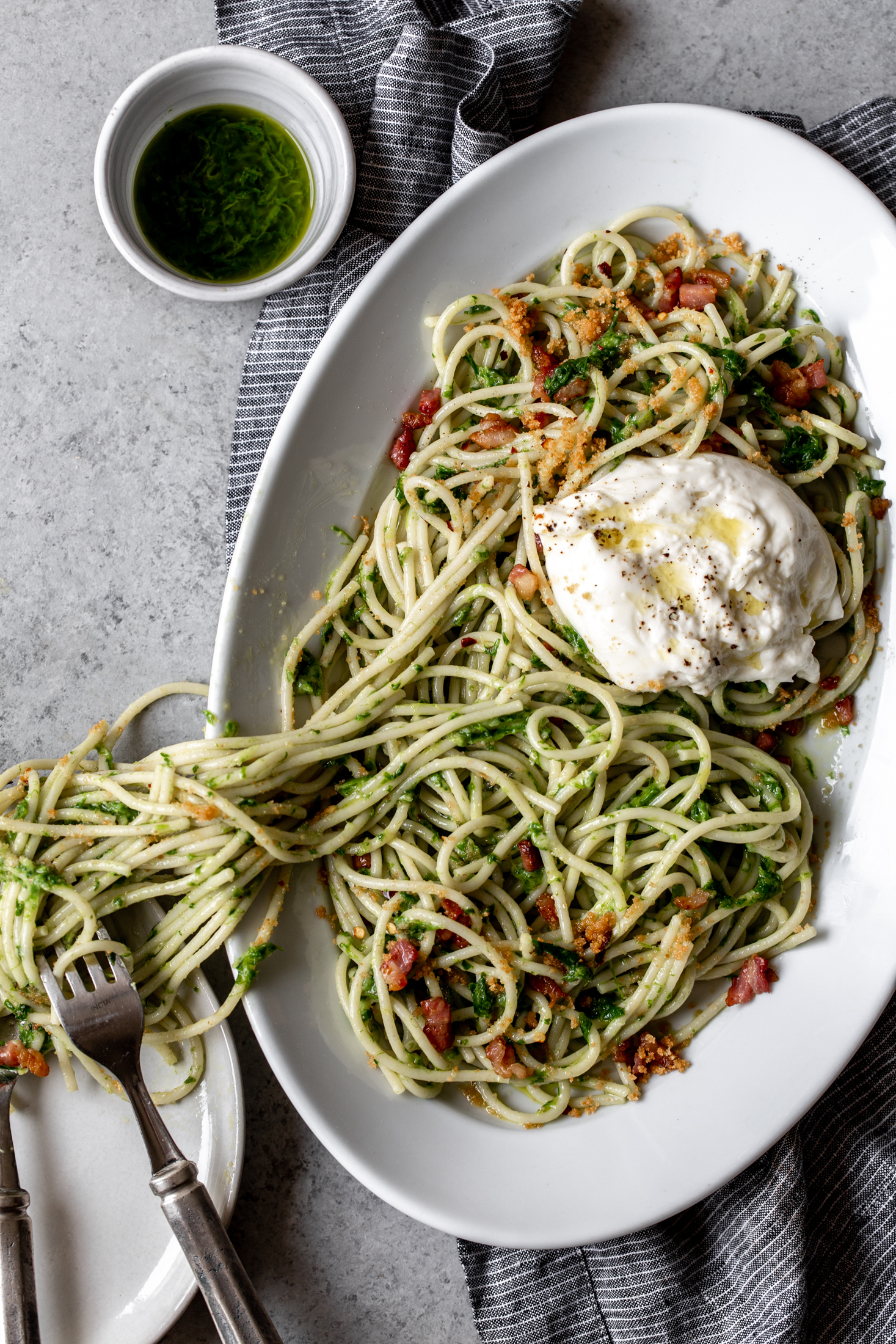 Ramp Pesto Spaghetti with Burrata recipe from cooking with cocktail rings