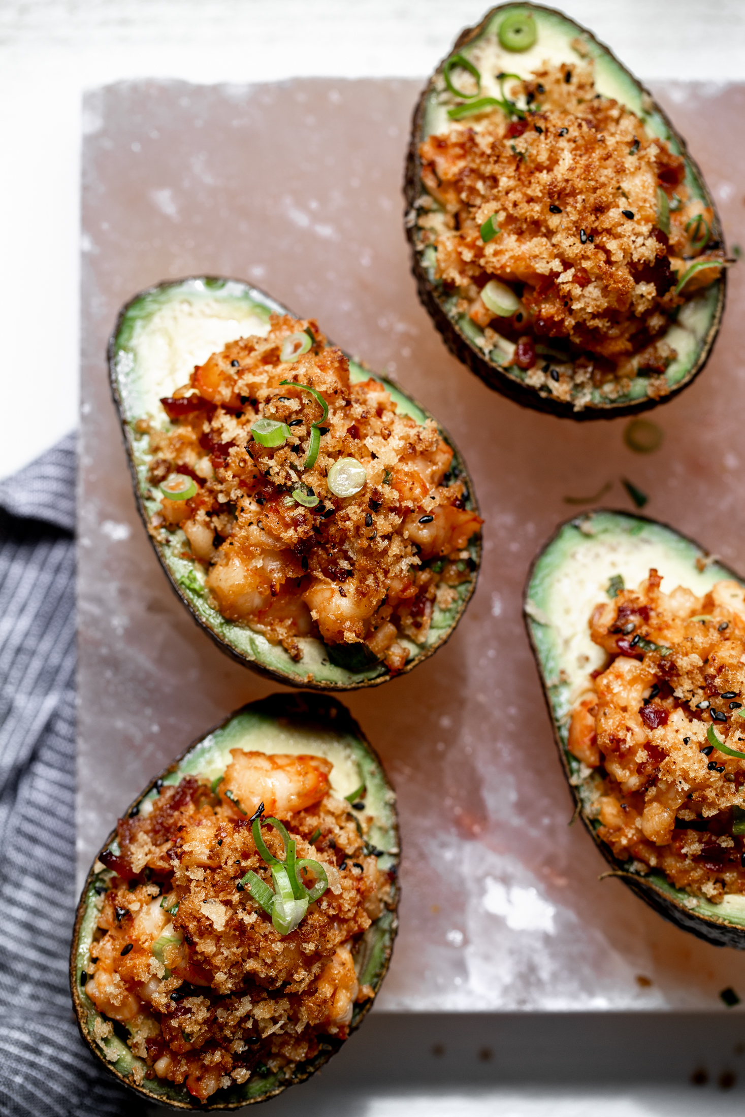 Spicy Shrimp-Salad Stuffed Baked Avocados closeup