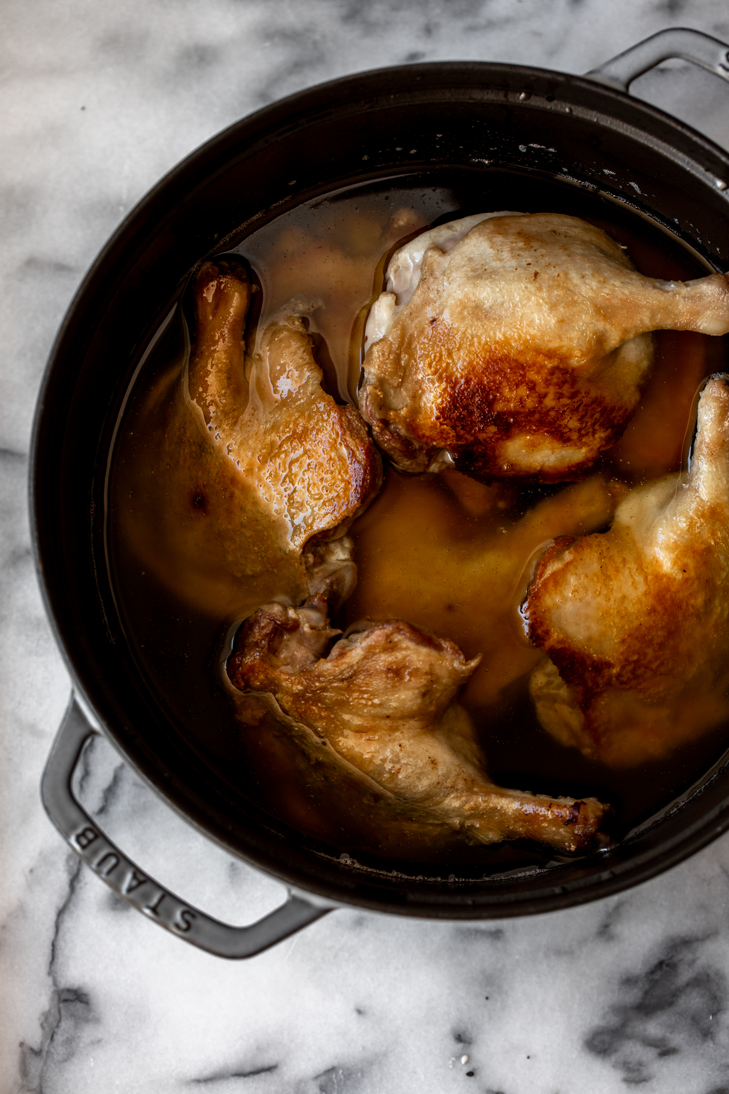 Confit duck legs recipe from cooking with cocktail rings seared