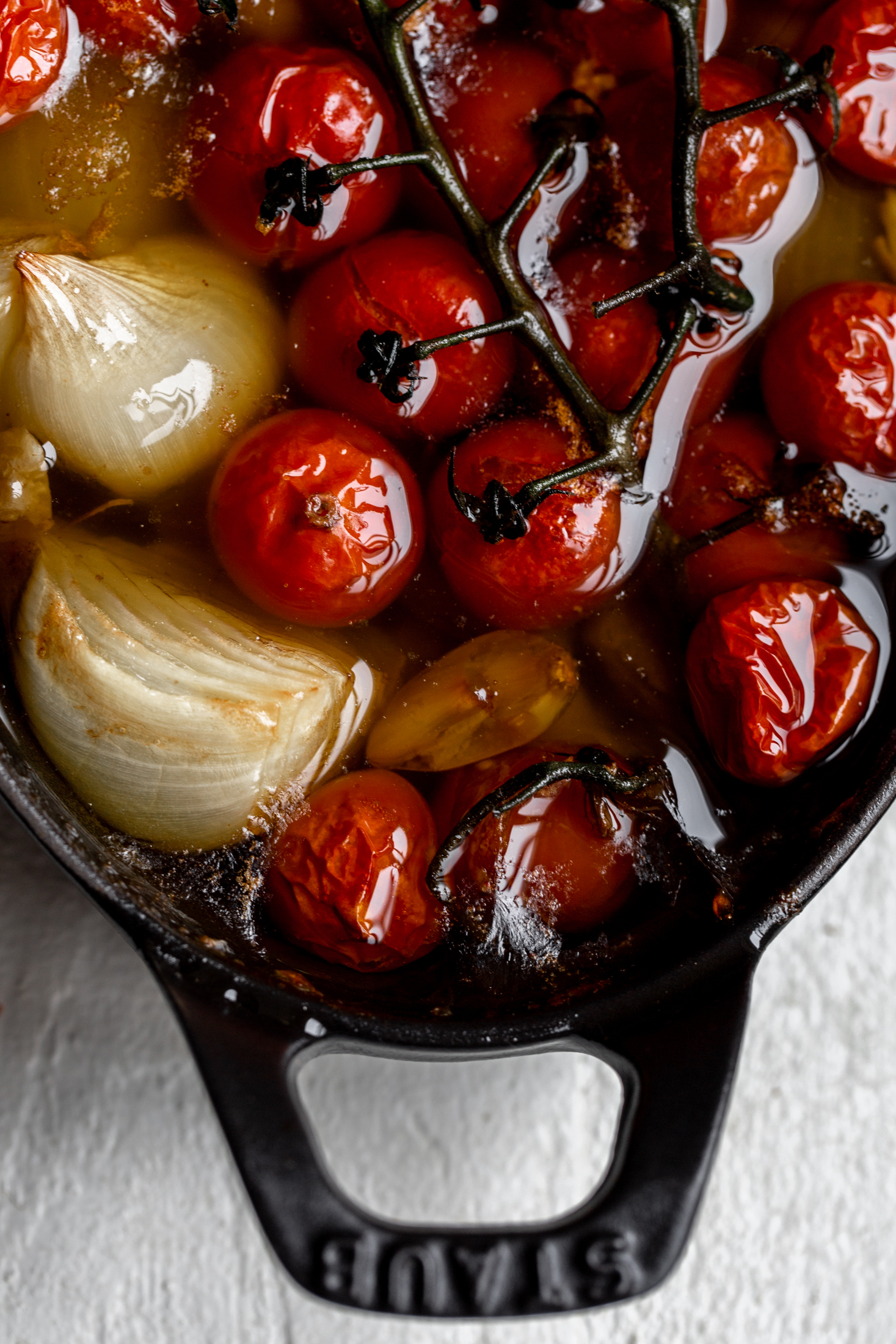 confit tomatoes, shallots and garlic