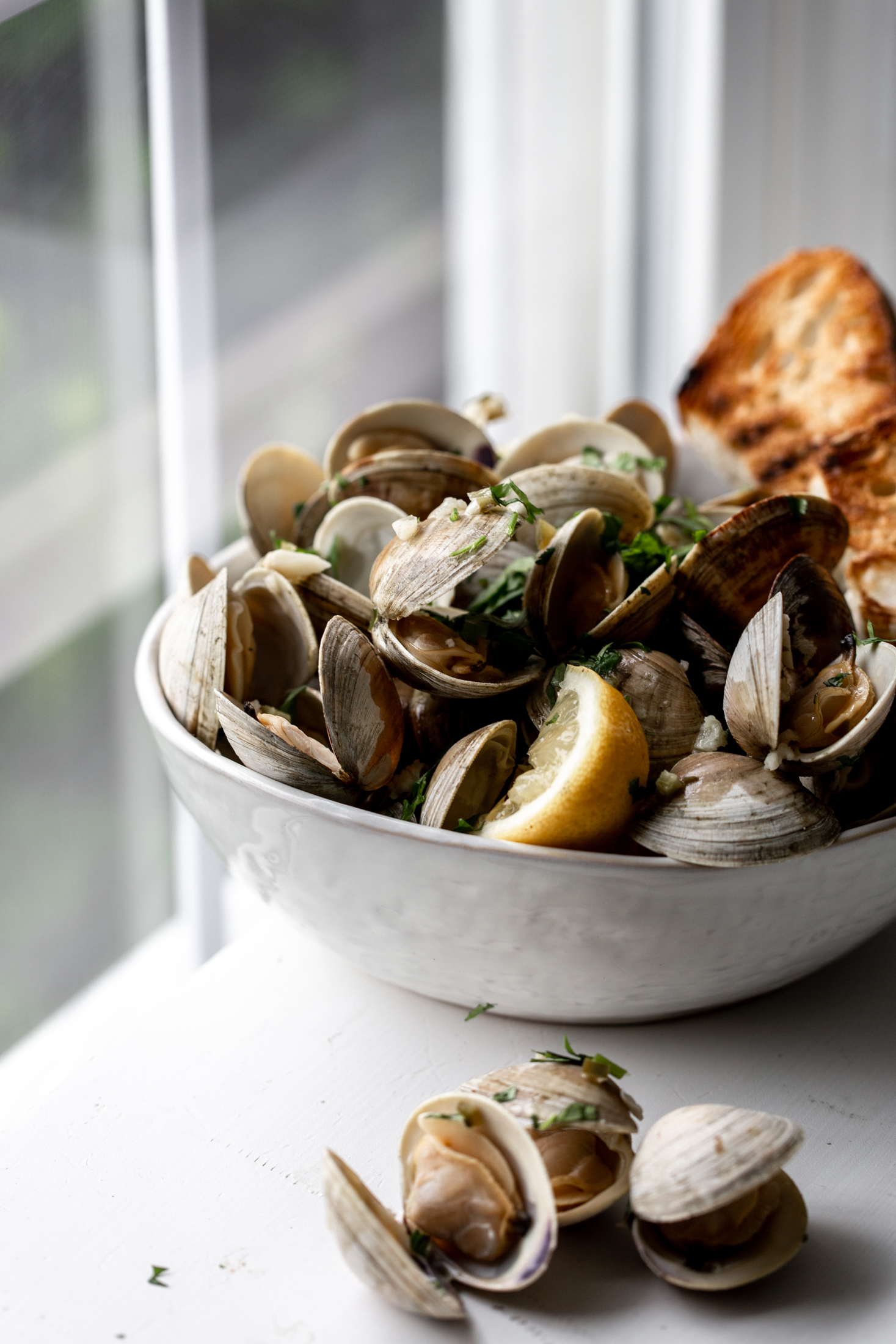 Clams in White Wine Sauce with Serrano Garlic Butter