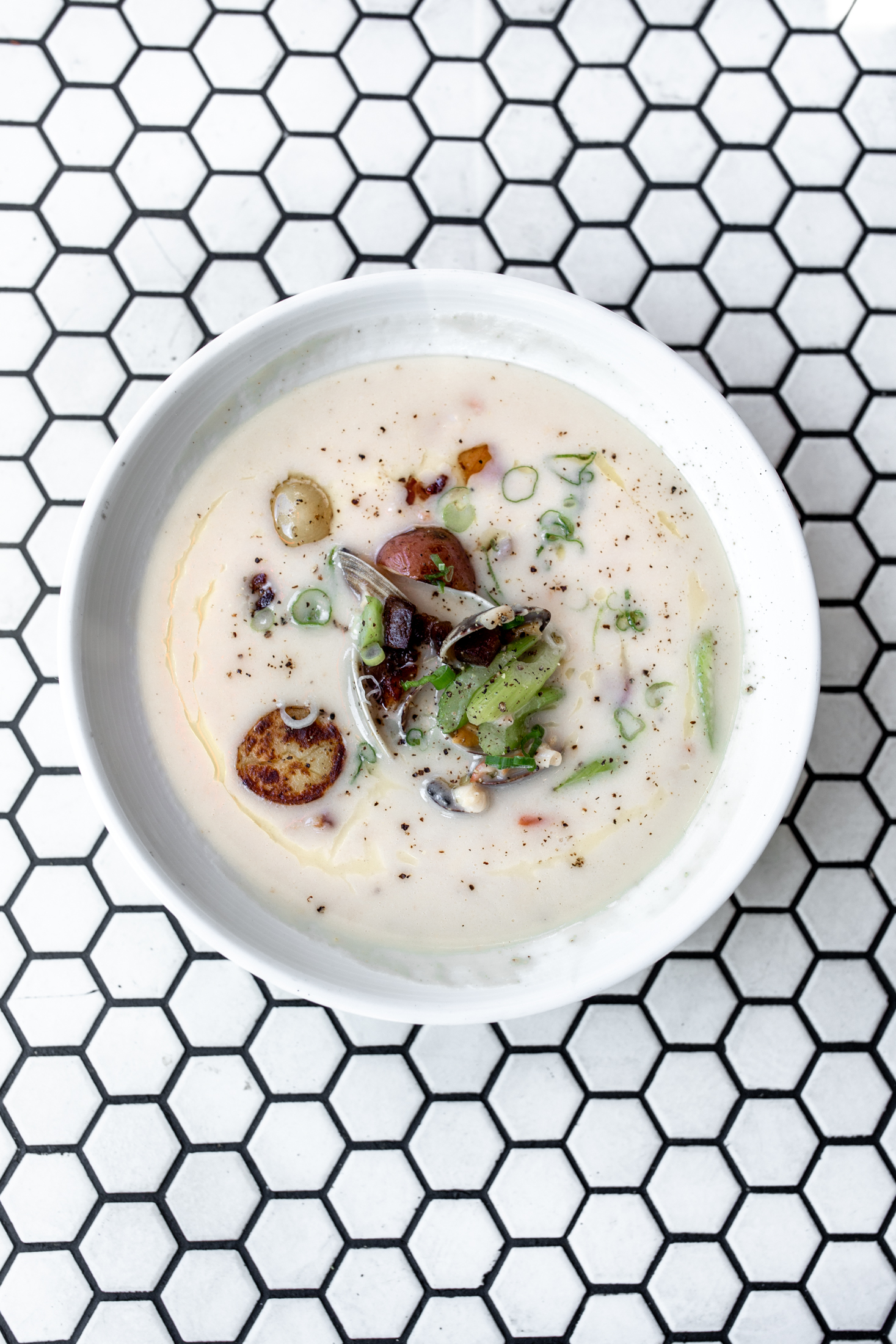 Saltie Girl holy trinity clam chowder Back Bay Boston, mass cooking with cocktail rings