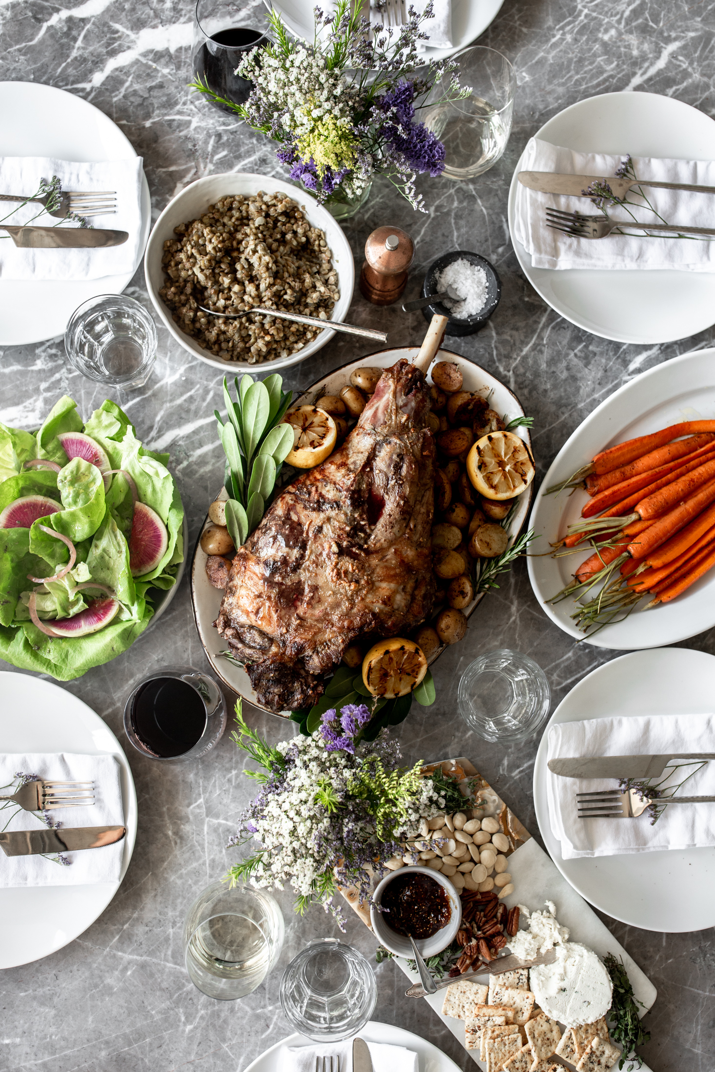 Anchovy-Garlic Butter Rubbed Whole Roasted Lamb Leg with Potatoes American Lamb.jpg