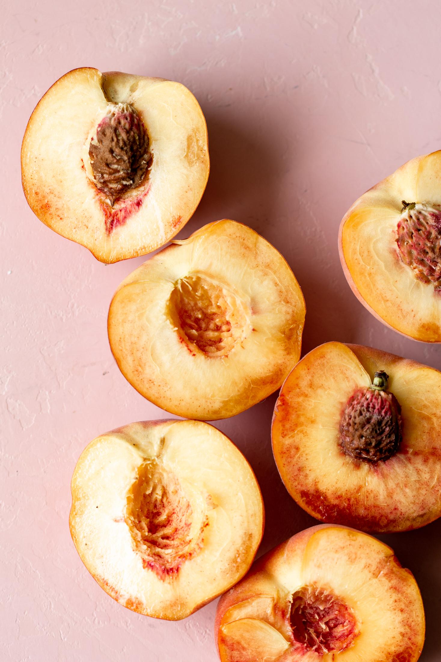 halved peaches summer ingredient shot