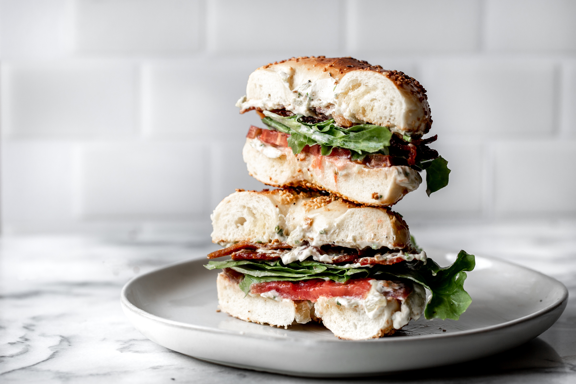 BLT Bagel with Hatch Chili Cream Cheese recipe from cooking with cocktail rings
