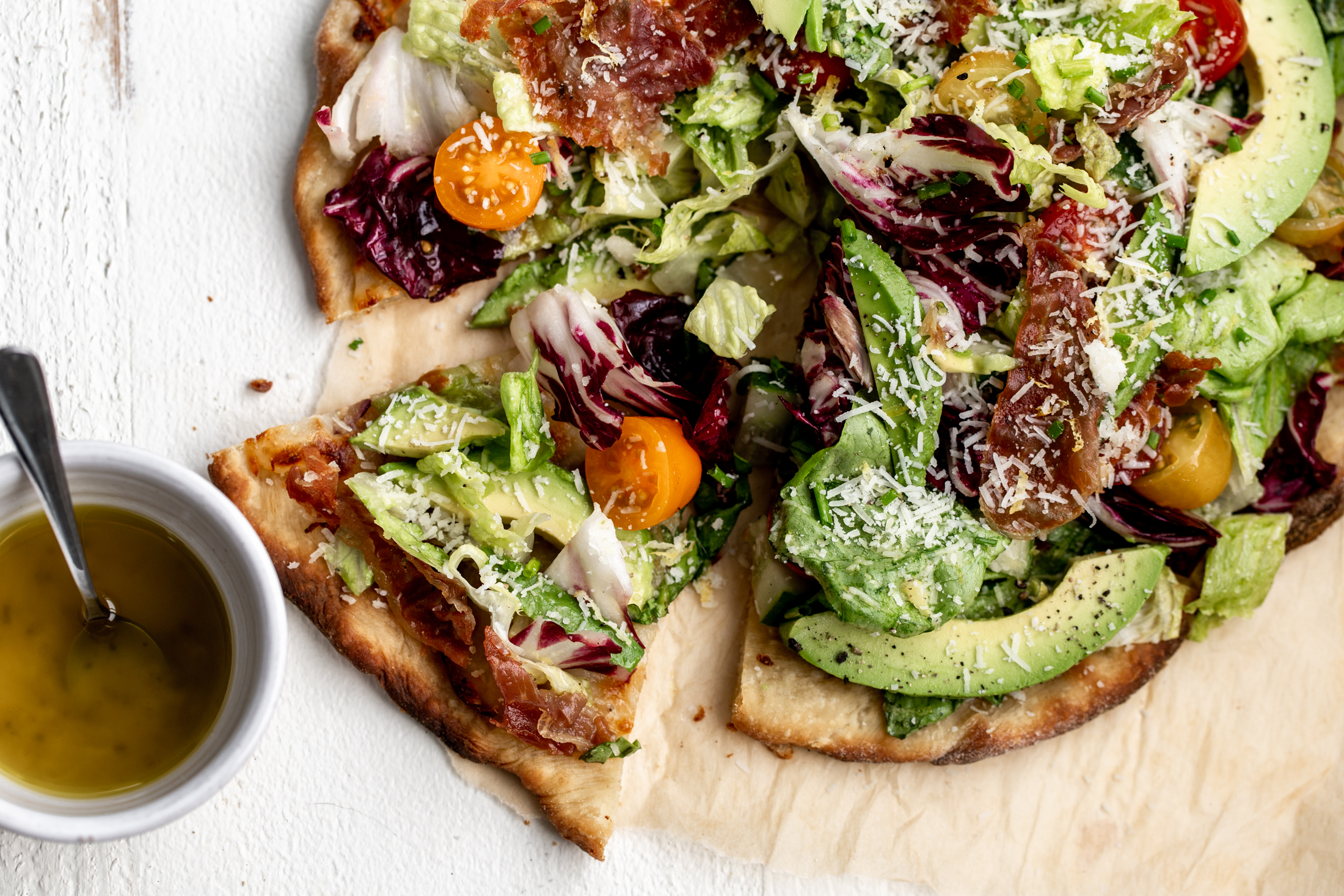 California salad pizza with avocado recipe from cooking with cocktail rings