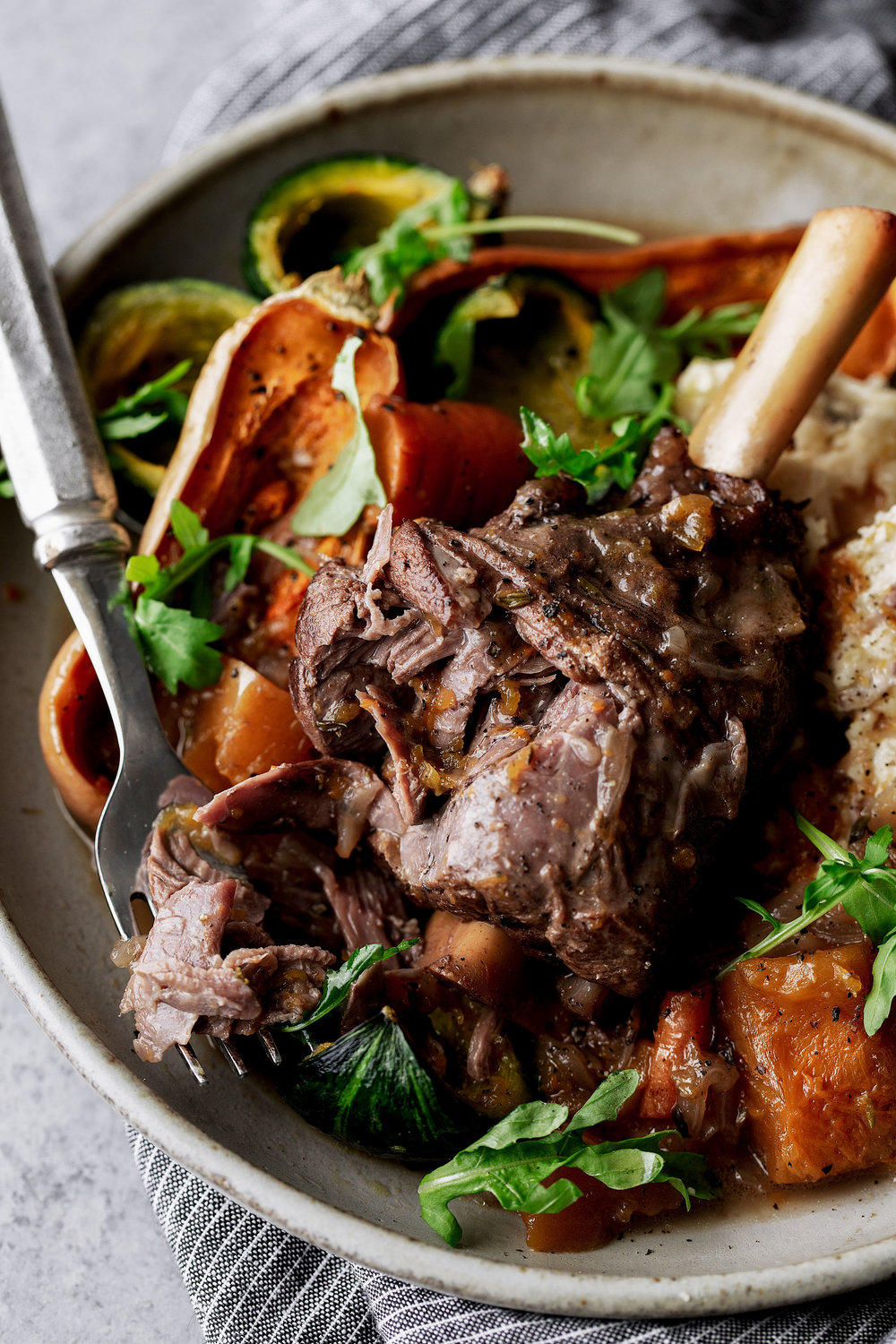 Red Wine Braised Lamb Shanks with Butternut Squash