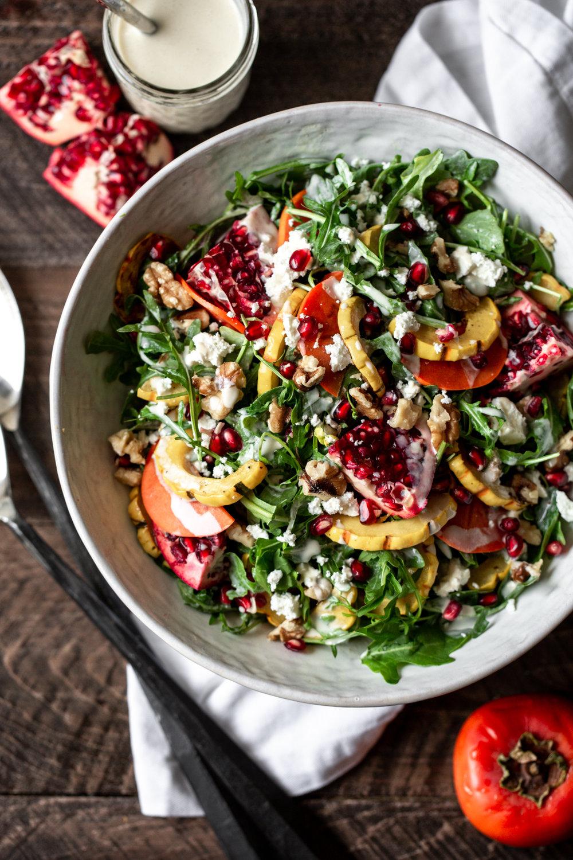 Fall Roasted Squash Salad with Yogurt-Tahini Dressing
