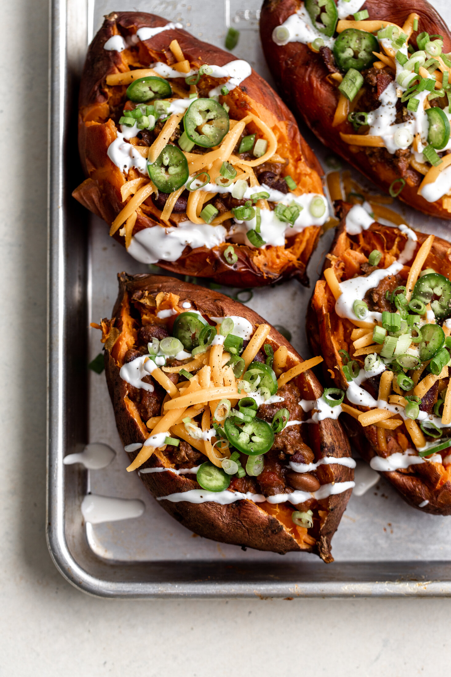 chili loaded baked sweet potatoes recipe from cooking with cocktail rings
