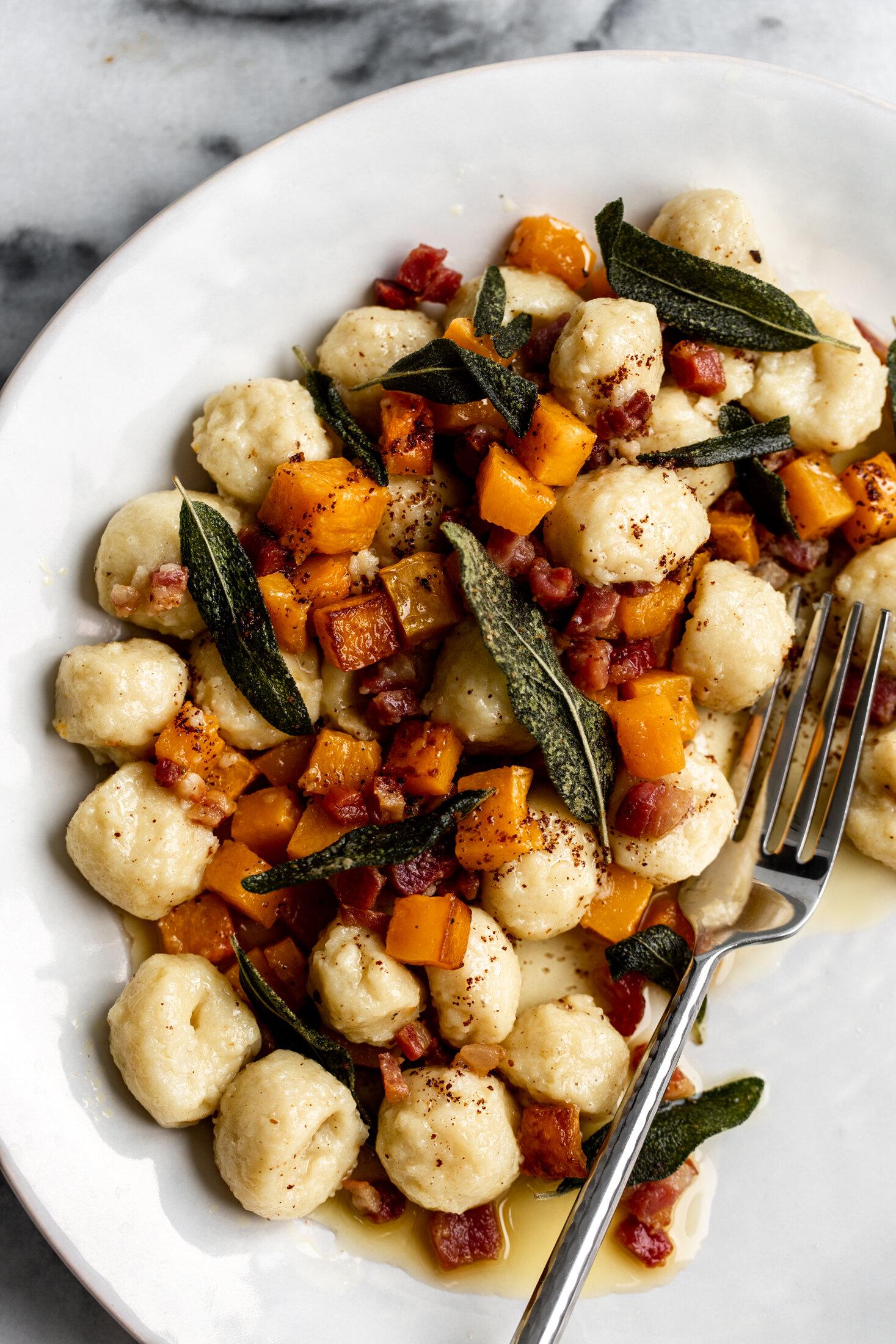 Fall Gnocchi with Butternut Squash, Brown Butter, Pancetta & Sage