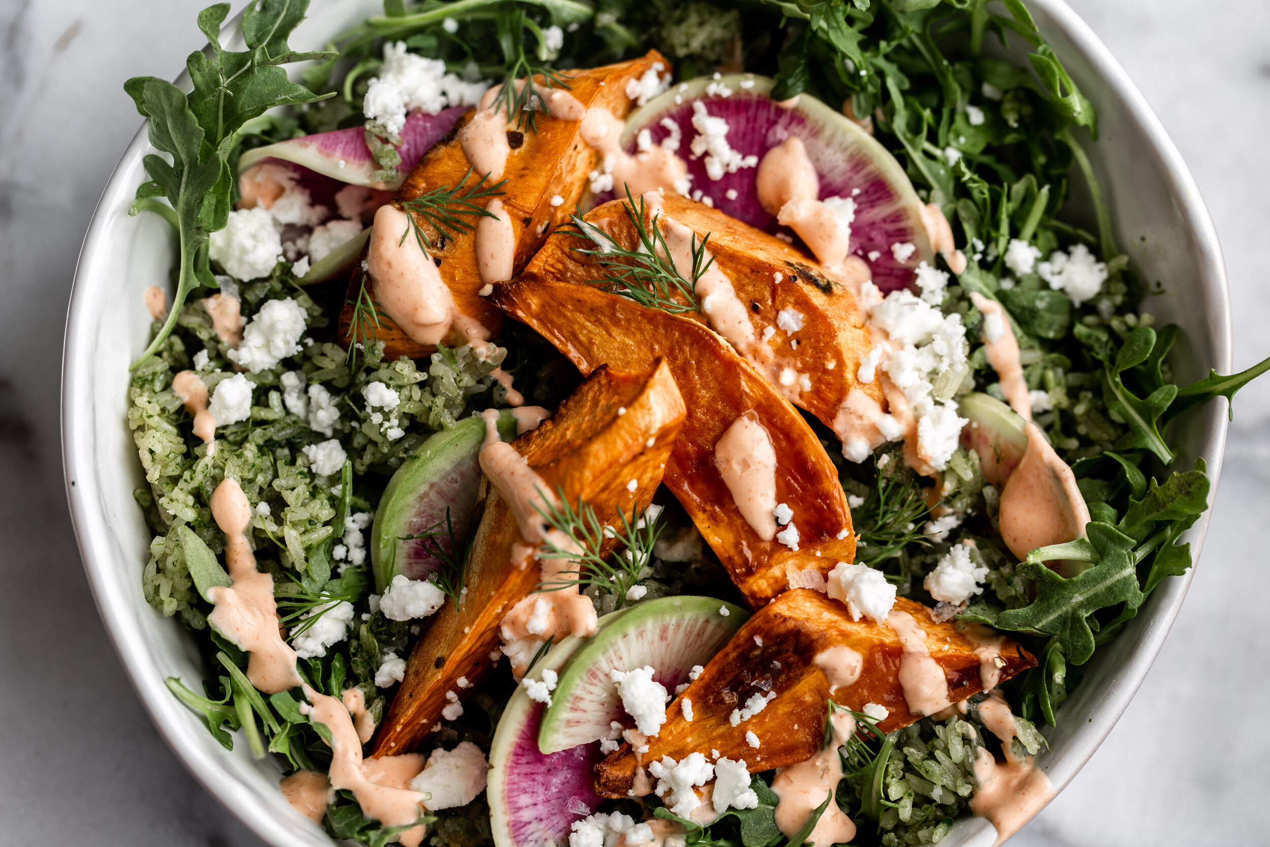Spicy Green Herbed Crispy Rice Sweet Potato Bowl with ...