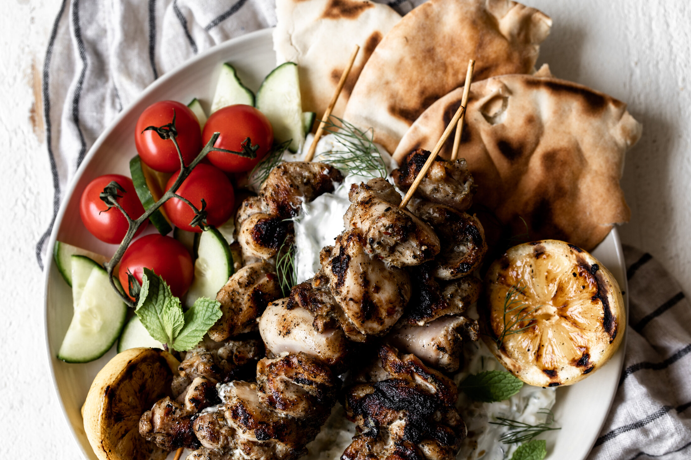 Greek Chicken Souvlaki With Charred Lemon Cooking With Cocktail Rings