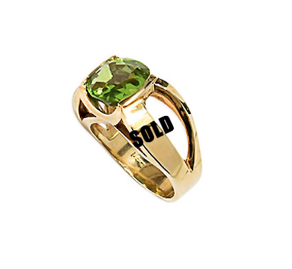 Large 14k Peridot Ring