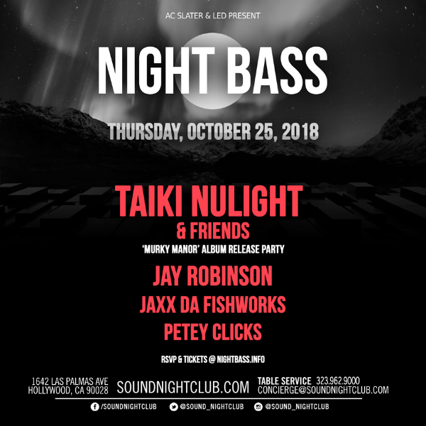 Night Bass is back at Sound Nightclub on October 25th, so come get spooky with us & kickoff the release of Taiki Nulight's new album, Murky Manor. Alongside Jay Robinson, Petey Clicks, Jaxx Da Fishworks & Taiki Nulight, we're expecting some very special friends so get your tickets now by clicking the link below! It's a Night Bass thing.. Happy Halloween.