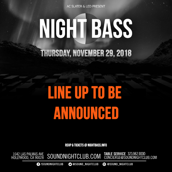 Night Bass is coming back to Sound this November! Lineup is to be announced but get ready for some very special appearances. Mark the 29th down in your calendars and click the link below for tickets!