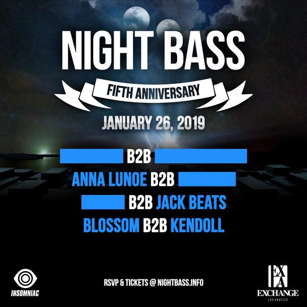 Our 5 year anniversary is here and we couldn't be more excited to share it with you. We've planned something truly special at Exchange LA with amazing b2b sets from some of our favorite friends. Come celebrate with the Night Bass family!