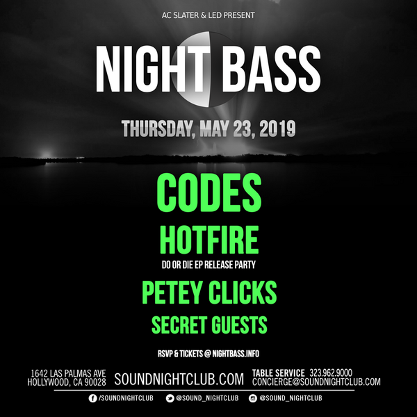 Night Bass is coming through again with another killer lineup. Head to Sound this month for, as per always, a stunning array of artists including Codes, Petey Clicks & Hotfire, ready to celebrate their 'Do Or Die' EP release with us, along with secret guests. The Night Bass crew is ready to bring the dance music to the Sound dancefloor once again. Get your tickets below, you know these always go off!!