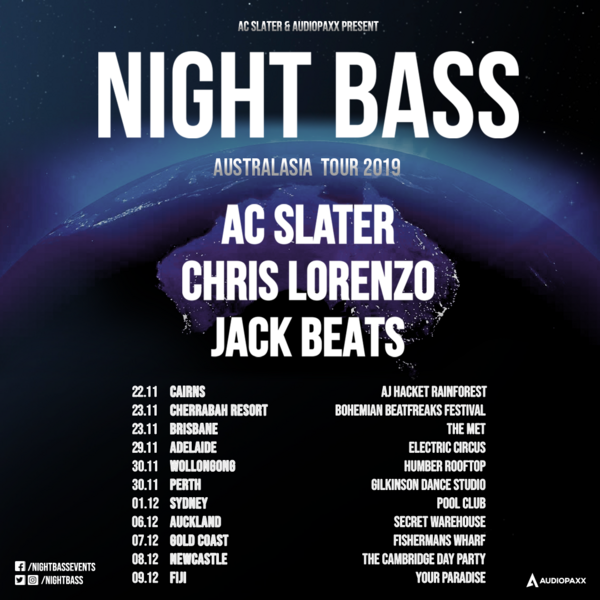 Night Bass is heading to Australia and Asia for a massive tour this Fall! Label boss AC Slater and Night Bass legends, Chris Lorenzo & Jack Beats are bringing the bass overseas. Click the link below to purchase tickets & see where they're heading.