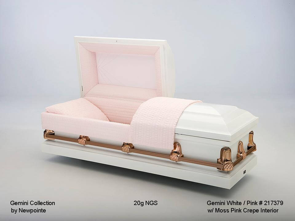 Gemini White/Pink   White exterior, moss pink interior  $500.00 (Included in Direct Burial Package)