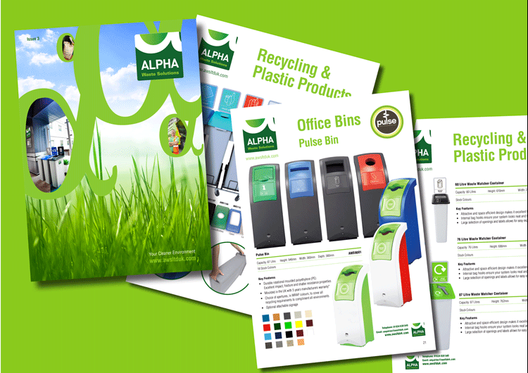 Recycling company Alpha Waste Solutions, identity design, colourful brochure designs and print.