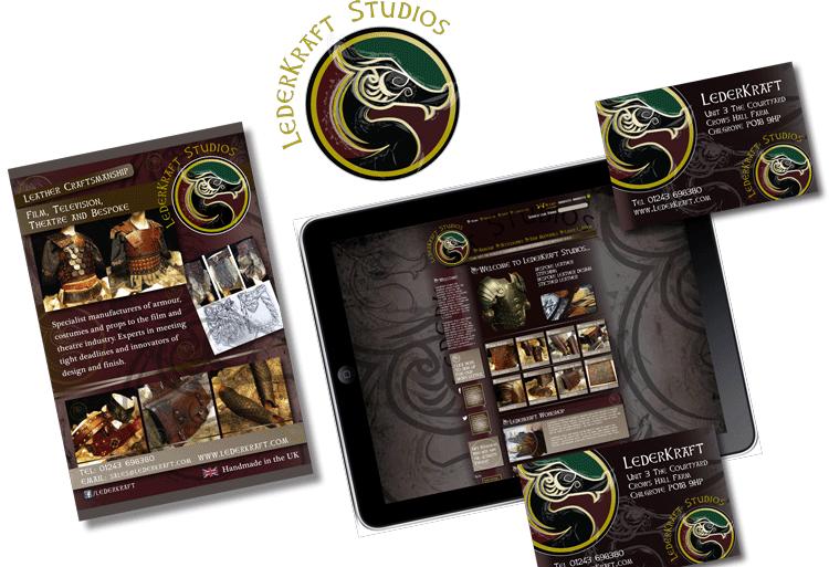 LederKraft, logo emblem design, supporting business cards and website.