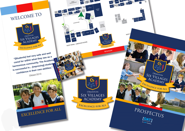 Westergate School to Academy rebrand material, new badge design, pop up banner, prospectus, school maps, website and postcards.