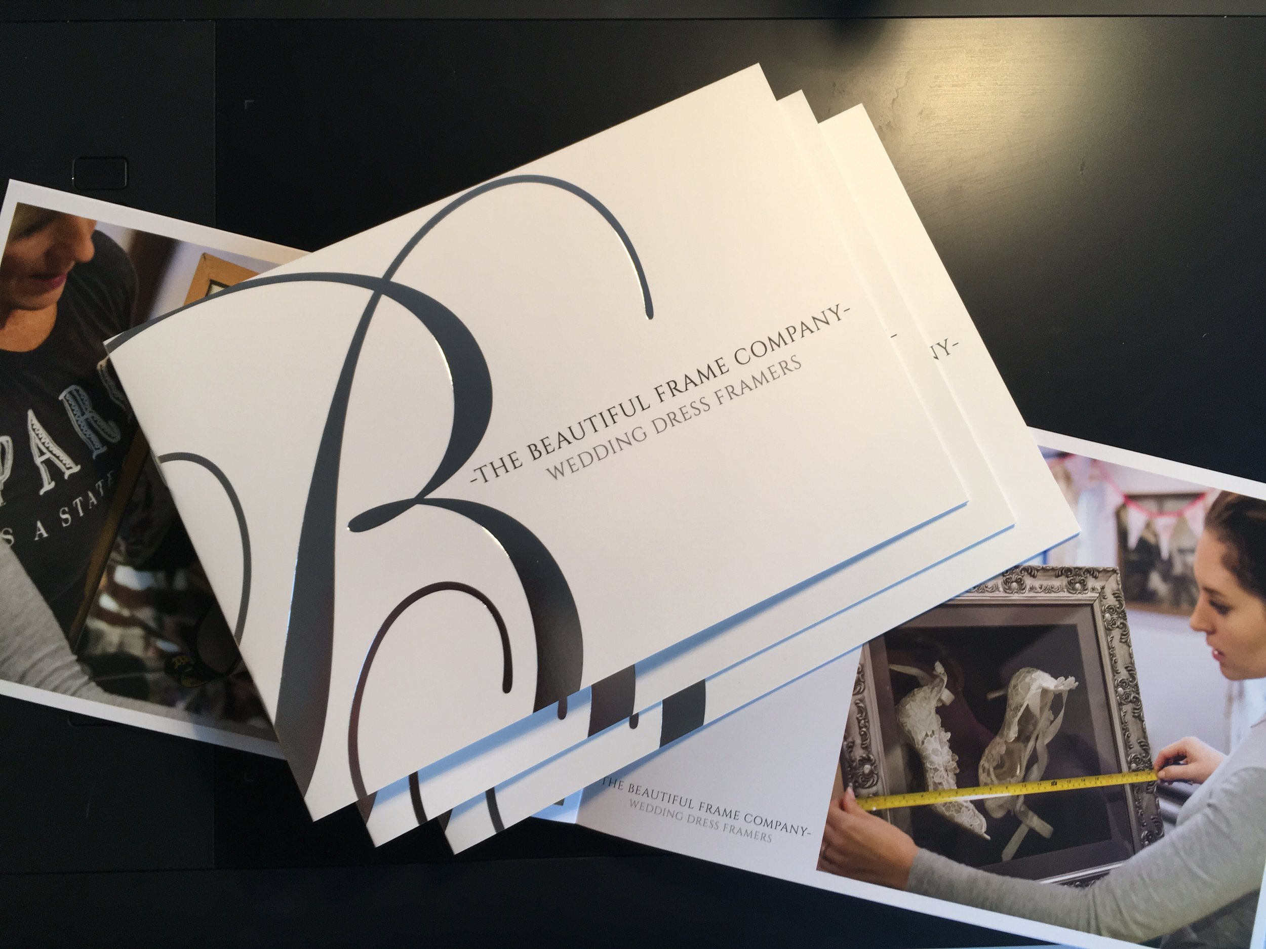 The Beautiful frame Company brochure printed with foil embossing