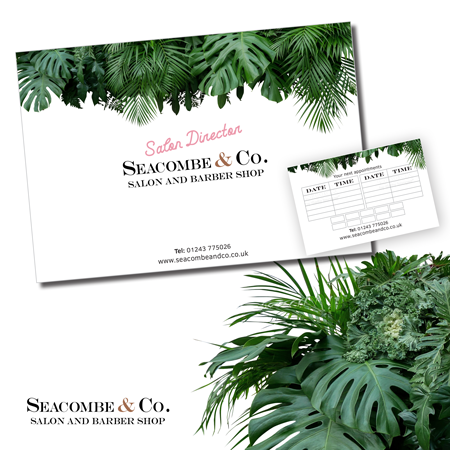 New business stationery and print for local salon and barbers, Seacombe & Co.