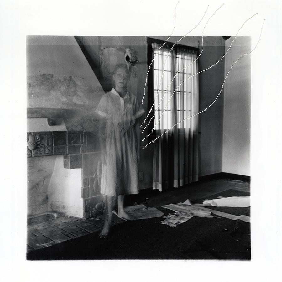"ruptured ""girls at eleven"" no. 18 Material: Silver gelatin print, linen thread 11"" x 14"" 1998/ 2014"