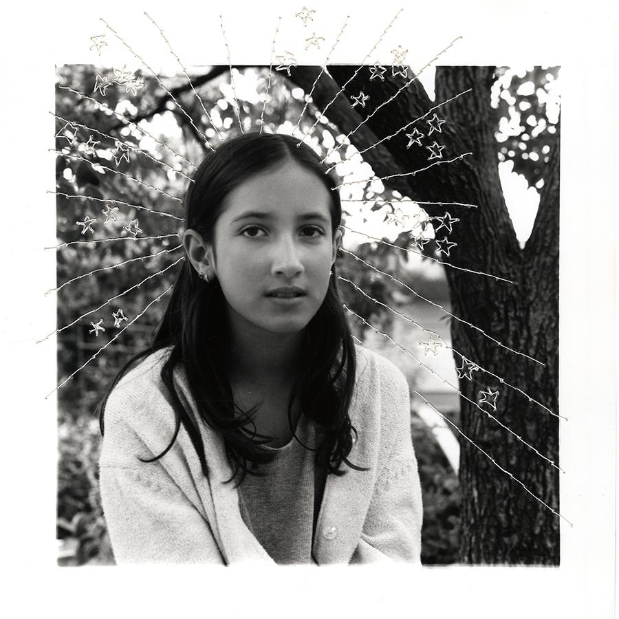 "ruptured ""girls at eleven"" no. 20 Material: Silver gelatin print, linen thread 11"" x 14"" 1998/ 2014"