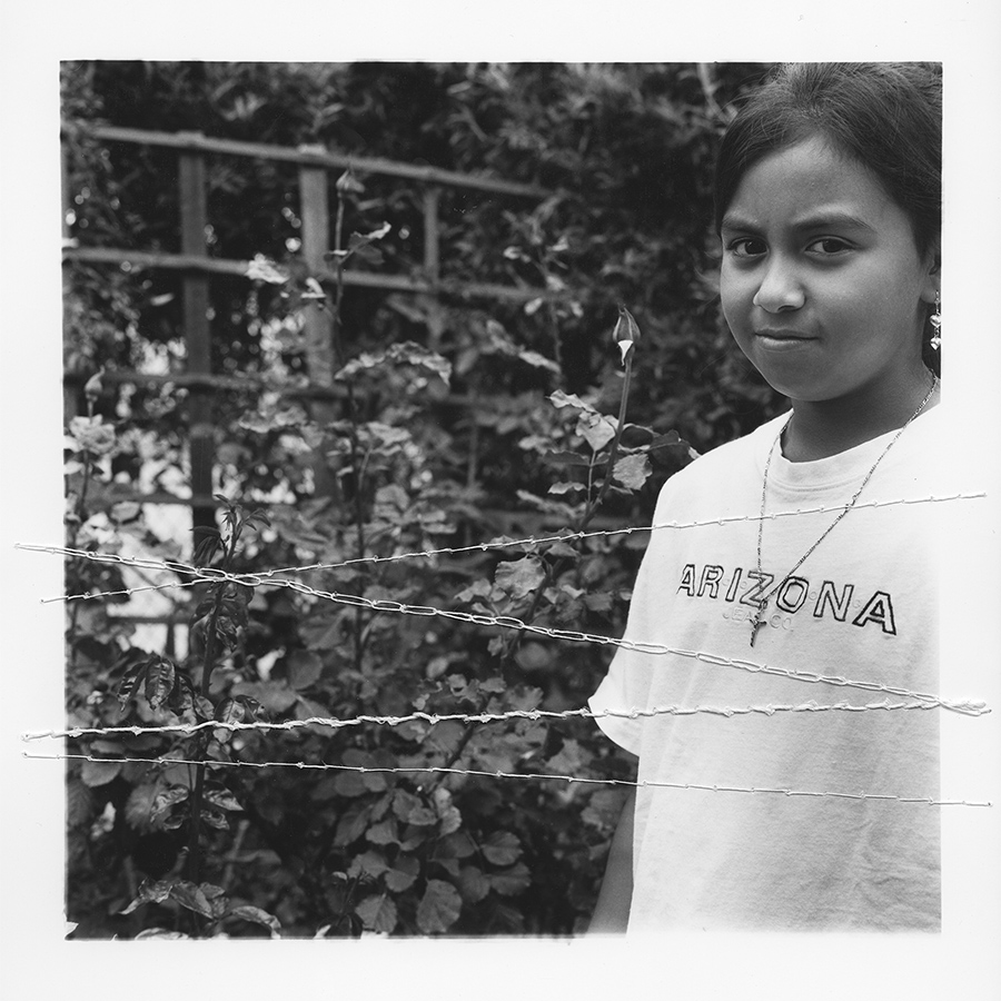 "ruptured ""girls at eleven"" no. 23 Material: Silver gelatin print, linen thread 11"" x 14"" 1998/ 2014"