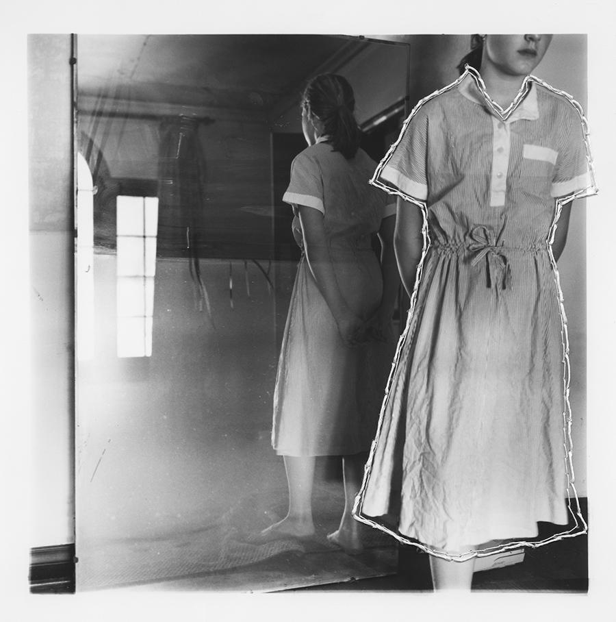 "ruptured ""girls at eleven"" no. 34 Material: Silver gelatin print, linen thread 11"" x 14"" 1998/ 2014"