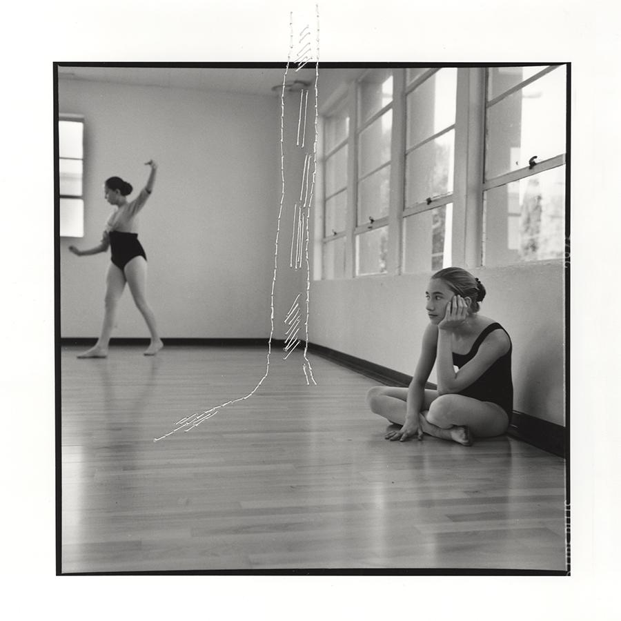 "ruptured ""girls at eleven"" no. 42 Material: Silver gelatin print, linen thread 11"" x 14"" 1998/ 2014"