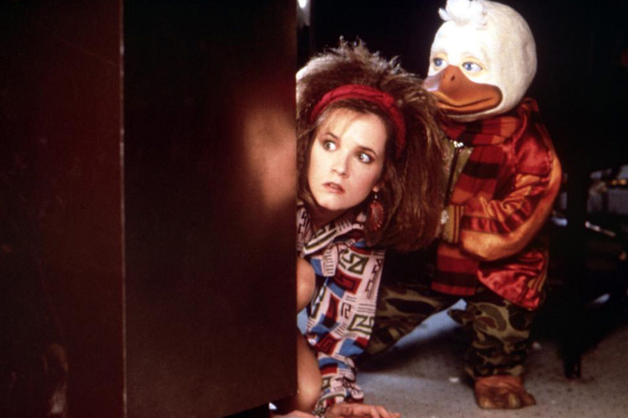 Beverly (Lea Thompson) and Howard (voiced by Chip Zien) hide from the cops after an accident in the science lab.