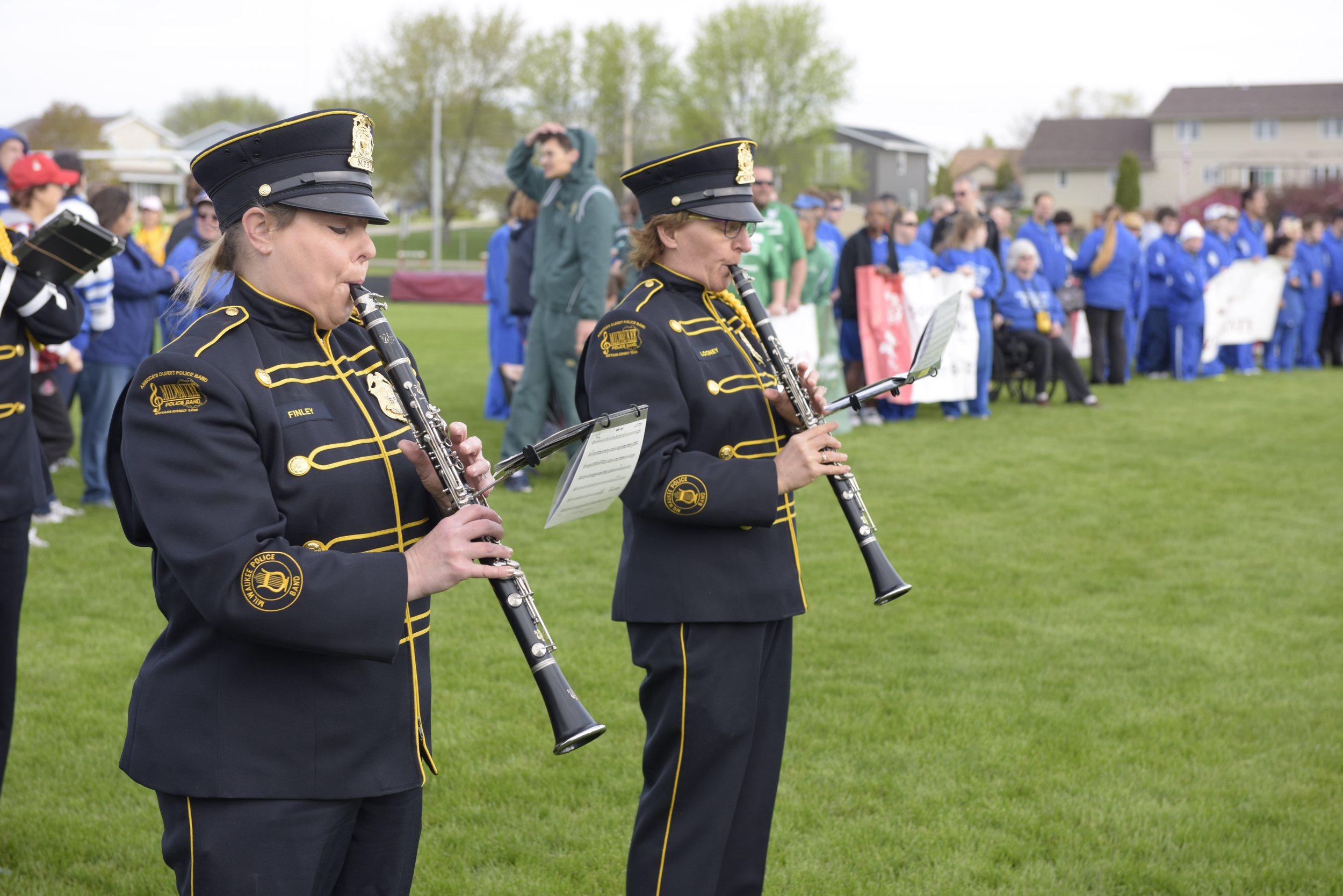 Police band members, Officers Carrie Finley and Pam Looney playing their clarinets. Both officers have been long time members of the band.