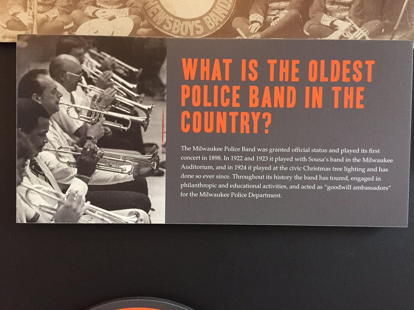 """The Milwaukee Police Band was included in the Milwaukee County Historical Society """"Melodies and Memories, 200 Years of Milwaukee Music"""" Exhibit in 2017."""