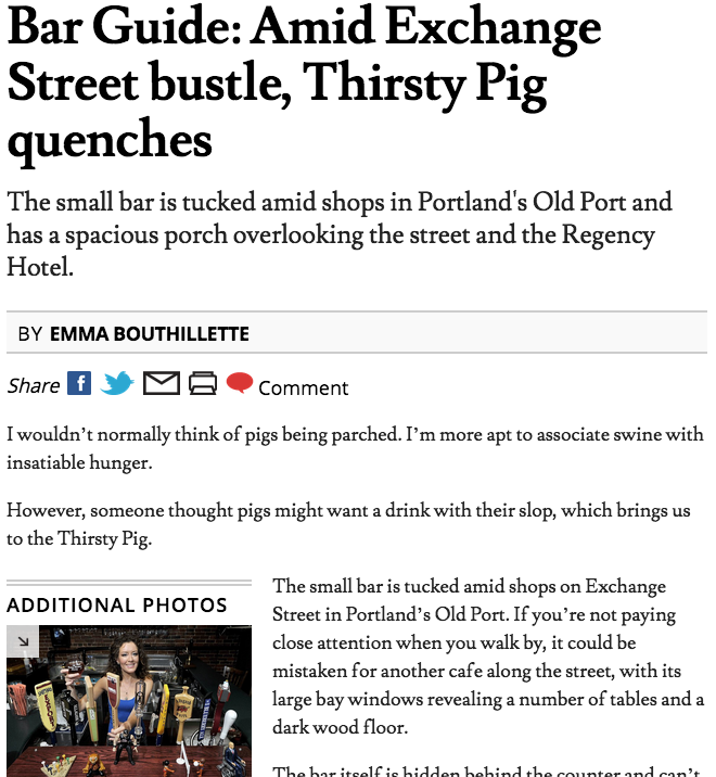 Bar Guide: Amid Exchange Street bustle, Thirsty Pig quenches