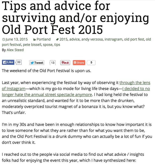 Tips and advice for surviving and/or enjoying Old Port Fest 2015
