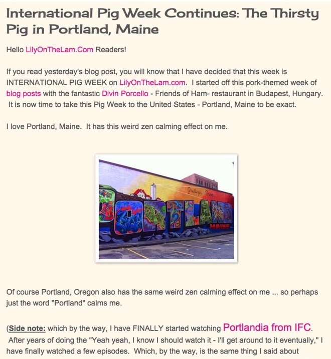 International Pig Week Continues: The Thirsty Pig in Portland, Maine