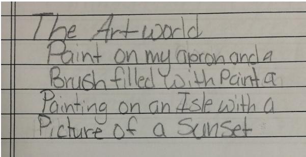 An ArtCore student's poem about their art world.